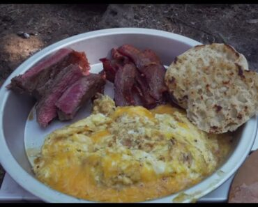 Steak & Eggs + Bacon! Cooked Over A Wood Fired